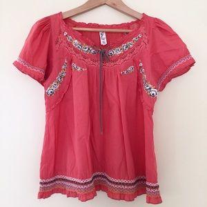 Floreat / Anthro pink peasant top